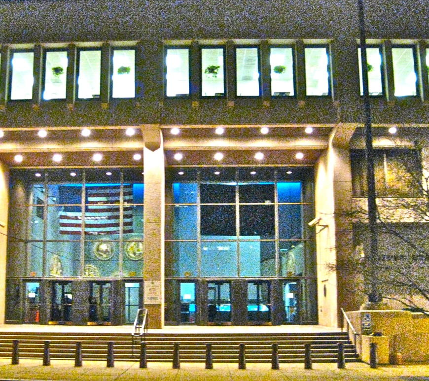 exterior of US Mint, at night, Philadelphia